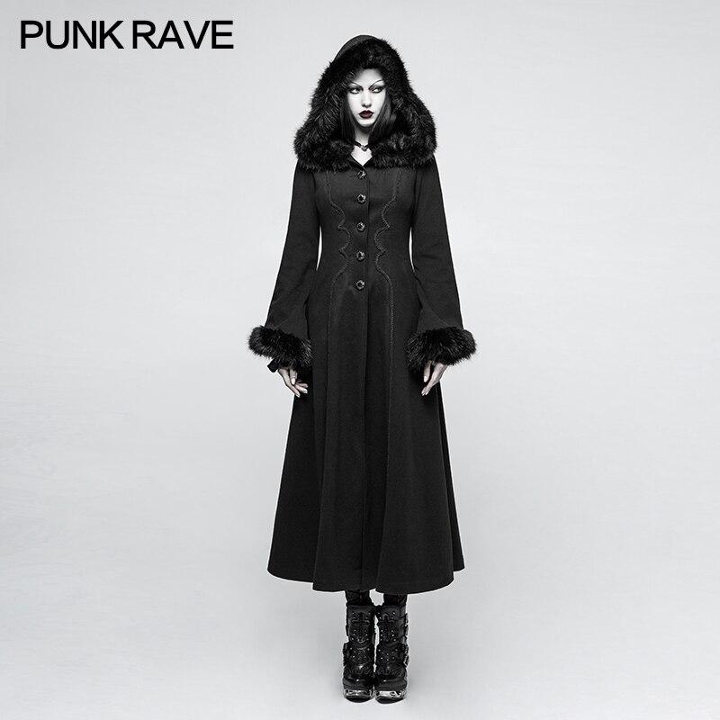 Панк рейв Готический победитель с капюшоном повседневное диск цветы для женщин длинный камвольный черный ретро пальто Y796