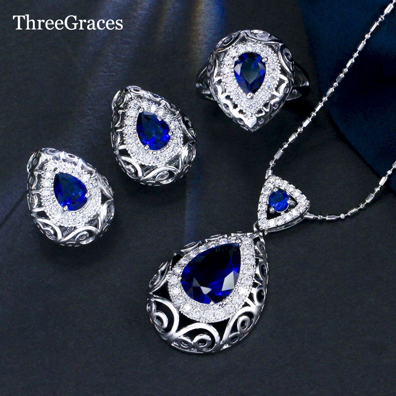 ThreeGraces CZ Jewelry Noble Design 925 Sterling Silver Royal Blue Crystal Stone Necklace Pendant Fashion Sets For Women JS195