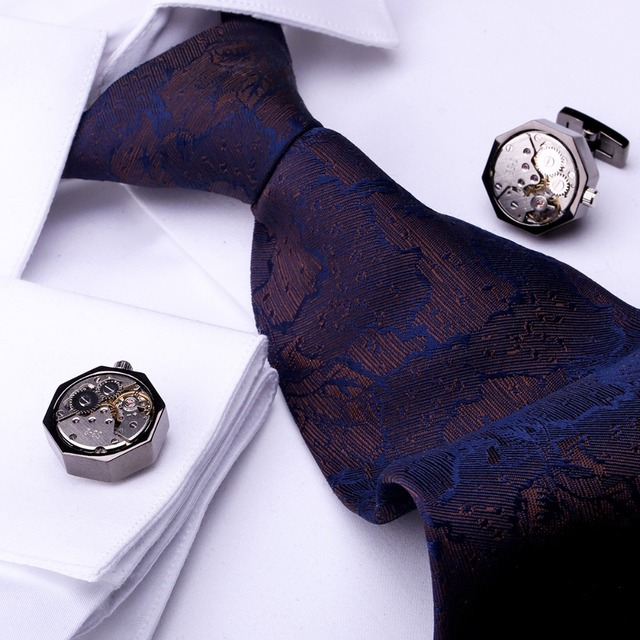 Maishenou Shirt Mechanical Movement Cufflinks Men's Black Button Punk Cuff Links Male High