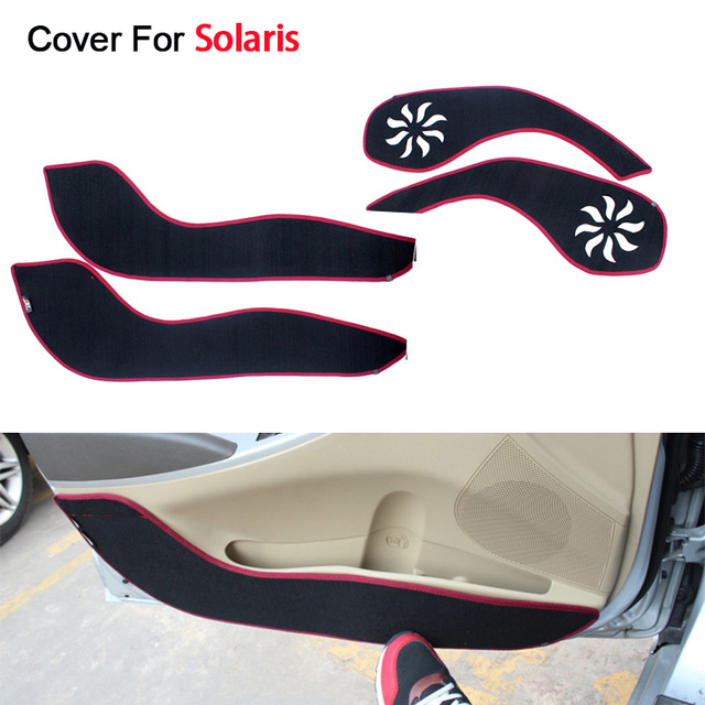 Car Styling 4pcs/set Door Side Edge Protection Pad For Hyundai Solaris Verna Sedan Hatchback 2014 2015 Anti-kick Mat