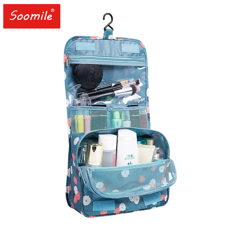 Waterproof Hanging Travel Organizer Bag Nylon Cosmetic Bags Zipper Necessaire Bath Make Up Bag Unisex Neceser Toiletry Kits