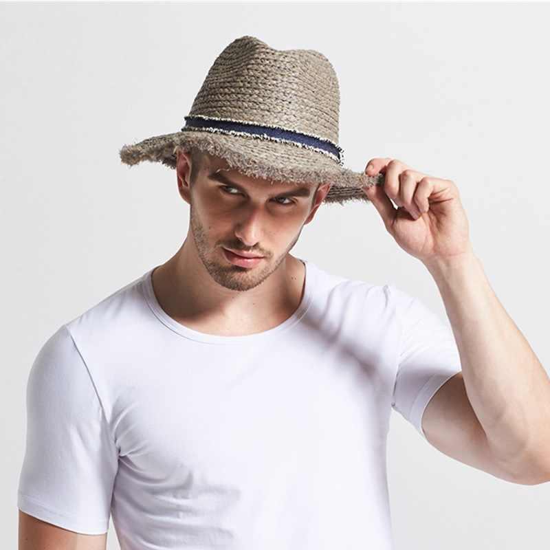 Brand New Men/'s Summer Outdoor Raphia Paille Chapeau Soleil panama marron bande Cuba