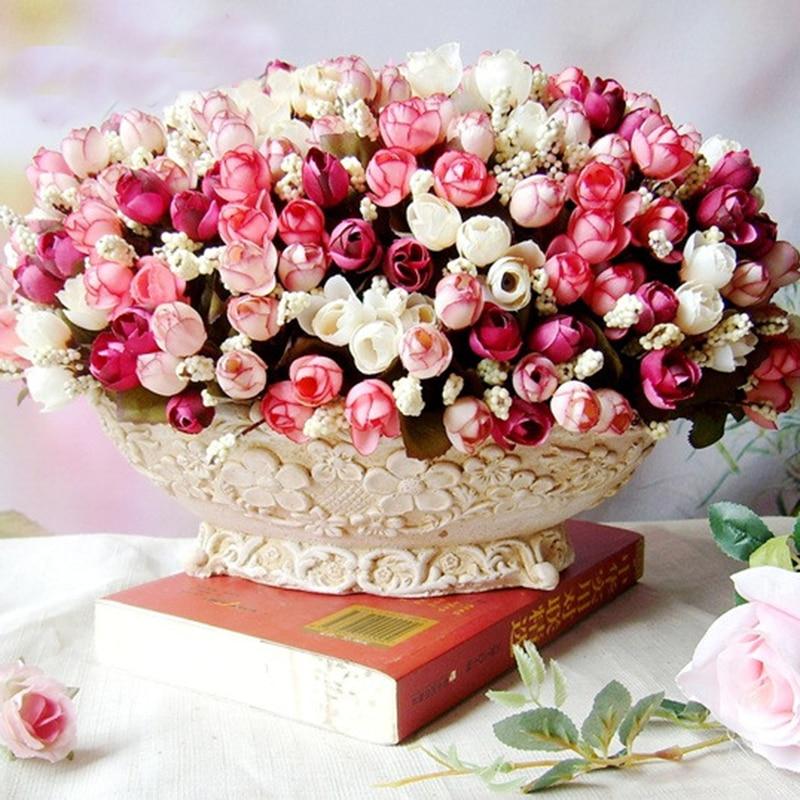 1 manojo = 15 cabezas rosas bráctea simulación flores de seda rosa flores para d
