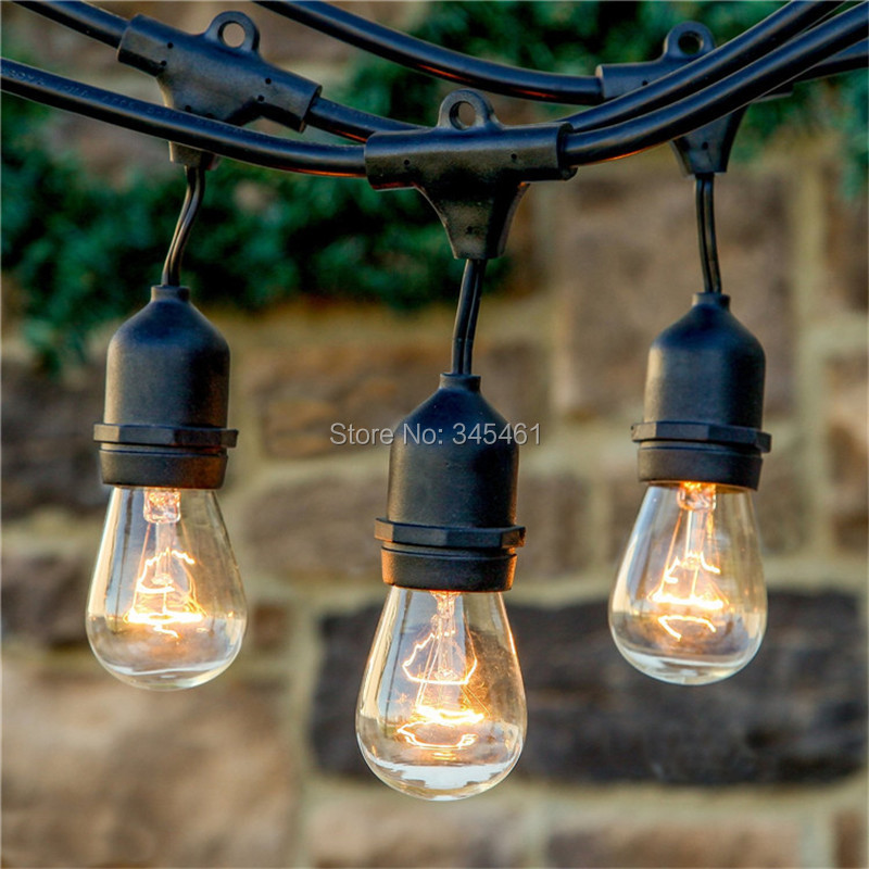 10X 48Ft(14.8M) Outdoor Vintage String Light with15 Incandescent 5W E27 Clear Bulbs Black plug ...
