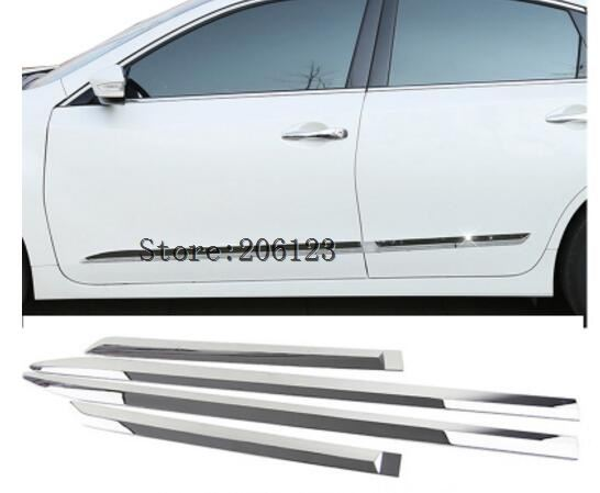 Car ABS chrome Door trim Strip Molding Stream lamp panel bumper 4pcs For Nissan Teana Altima 2013 2014 2015 for nissan teana altima 2013 2014 2015 abs chrome front bottom grill cover grilles trim cover car styling accessories