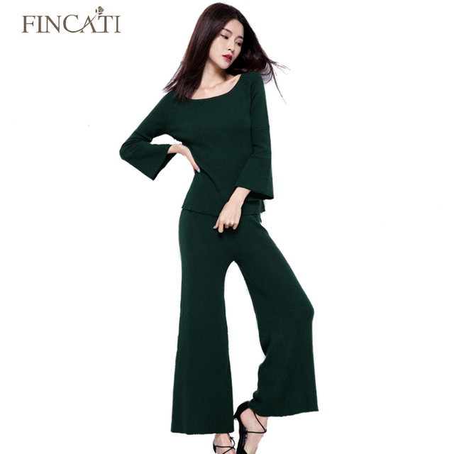 Autumn Winter High Quality Cashmere Blending Women Two Pieces Suit Sets Flare Sleeve Sweater + Wide Leg Pants Twin Set Outwear