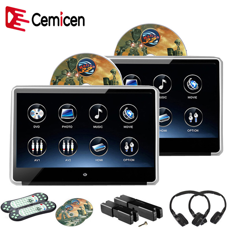 Cemicen 2PCS 11 6 Inch Car Headrest IPS Screen Monitor DVD Player HD 1080P Video Touch