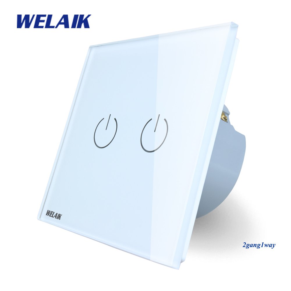 WELAIK Crystal Glass Panel Switch White Wall Switch EU Touch Switch Screen Wall Light Switch 2gang1way AC110~250V A1921W/B cnskou 2017 smart home wall touch switch white crystal glass panel ac110 250v led 1gang 1way us light led touch screen switch