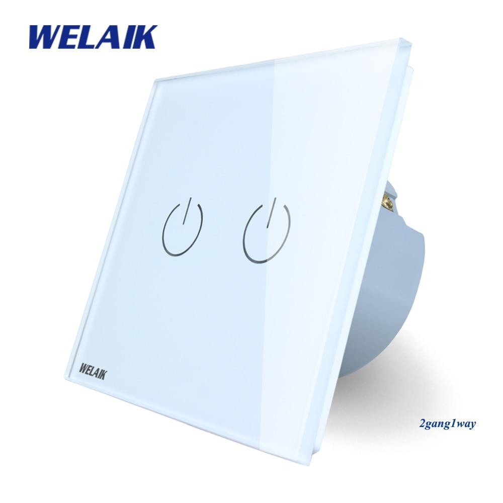WELAIK Kristallglas-verkleidung Schalter Weiß Wandschalter EU Touch Schalter Bildschirm Wand Lichtschalter 2gang1way AC110 ~ 250 V A1921W/B