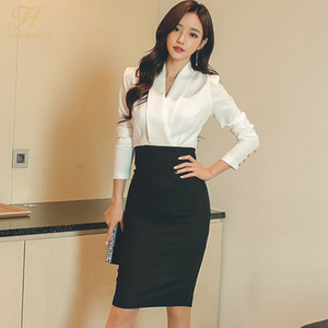 Image 5 - H Han Queen Solid Patchwork Korean Sheath Pencil Autumn Dress Women 2018 Official Wear Bodycon Dresses Casual Business Vestidos