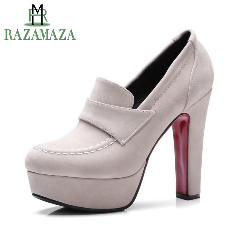 RAZAMAZA Size 33 43 Ladies Thick High Heel Shoes Women Ankle Platform Heeled Pumps Brand Female Sexy Stylish Heels Footwears