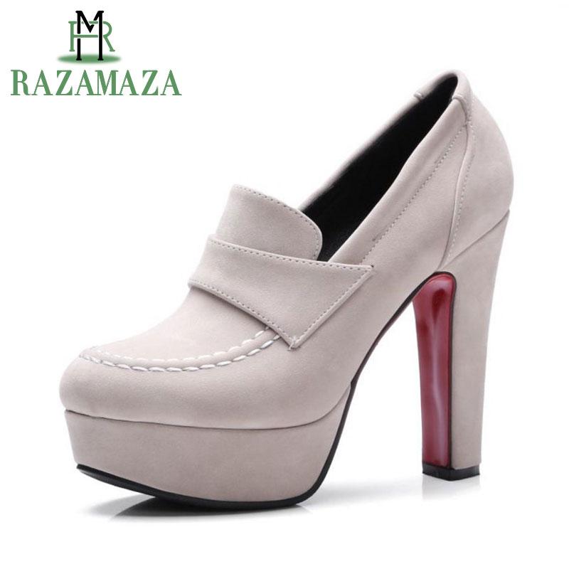 RAZAMAZA tamaño 33-43 señoras gruesas zapatos de tacón alto mujeres tobillo plataforma de tacón bombas marca mujer Sexy tacones elegantes calzados