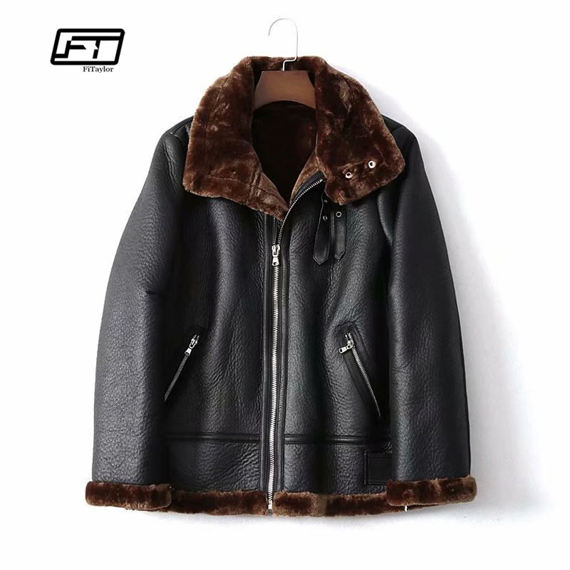 Fitaylor Faux Lamb   Leather   Jacket Women Winter Warm Zipper Jacket Coat Female Faux   Leather   Lambs Wool Fur Collar Thick Outerwear