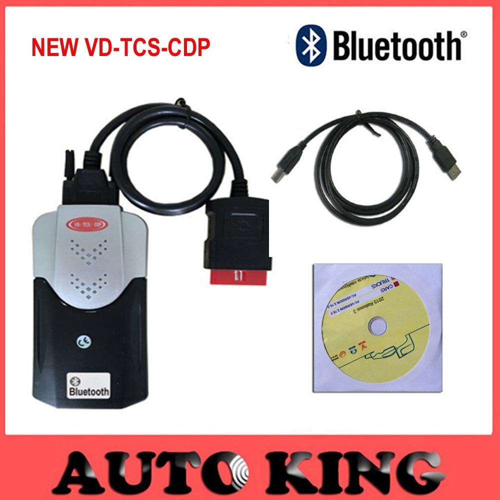 Цена за Новые приходят из модели с функцией Bluetooth в. д. TCS CDP pro новый vci Автомобили Грузовики obd scan инструменты 2015 r1 dvd-корабль бесплатно
