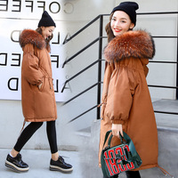 Maternity Winter Coat Pregnant Women Duck Down Jacket with Raccoon Fur Collar Hooded Outwear