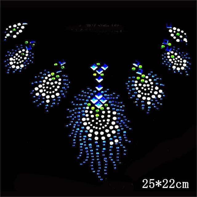 10pc lot peacock stone crystal hotfix rhinestones motif hot fix rhinestones  transfer design iron on flower dress T shirt 5d965640464b