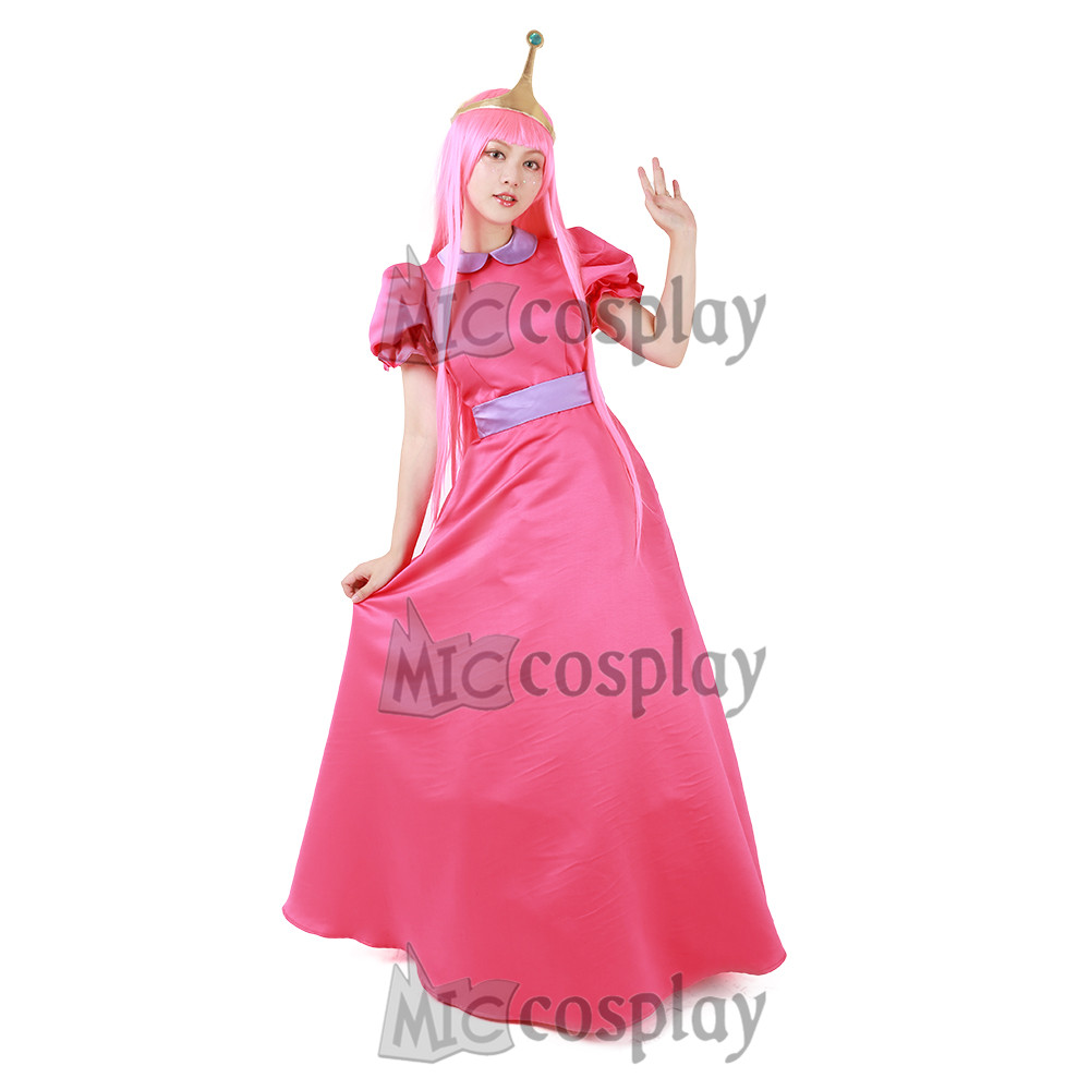 Adventure Time Princess Bubblegum Cosplay Costume with Crown ...