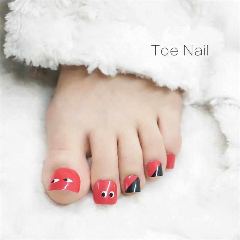 Simple Design Red Toe False Nails 24pcs finished Fake Nail Full ...