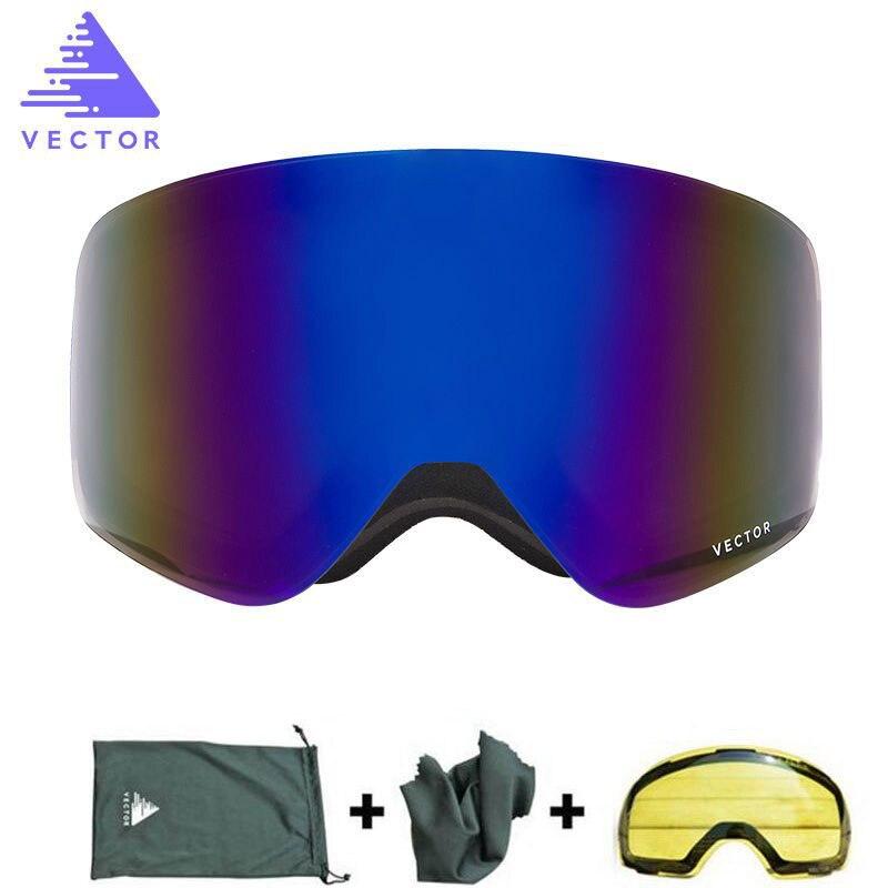 Professionnel Ski Lunettes Avec Le Cas Jaune Objectif Hommes Femmes À Double Lentille Anti-brouillard UV400 Sphérique Adulte Ski Snowboard Lunettes