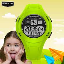 SANDA Children Watch Sports Cartoon Watch LED Digital Wristwatch Alarm Shock Resistant Back Light Boys Wristwatches
