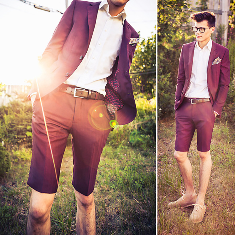Summer Burgundy <font><b>Men</b></font> Wedding <font><b>Suits</b></font> 2018 Slim Fit <font><b>Suit</b></font> <font><b>Shorts</b></font> Jacket Red <font><b>Men's</b></font> Classic <font><b>Suit</b></font> Handsome Tuxedo Male Blazer 2 Pieces image