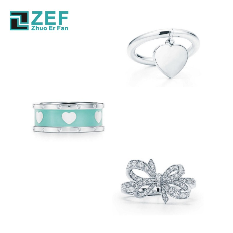 ZEF Tiff 925 Silver Rings For Women,Heart Shape Bow 2019 Classic Elegant Luxury Charm Original Ladies Jewelry Gifts.