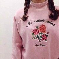 Ulzzang Harajuku vintage exclusivo personalizado retro de las mujeres de cuello alto de lana bordada rosas para las mujeres sudadera