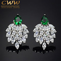 2017 Fashion Designer Brand Jewelry Marquise White Cubic Zirconia Simulated Diamond Long Big Green CZ Earrings For Women CZ292