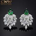 2017 Fashion Designer Brand Jewelry Marquise White Cubic Zirconia Simulated Diamond Long Big Green CZ Earrings For Women CZ292
