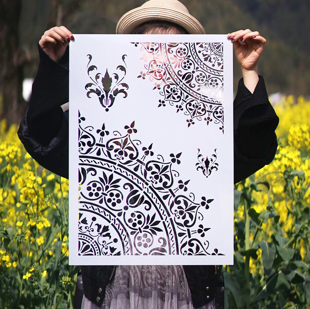 A3 A2 Size DIY Craft Layering Mandala Stencils For Walls Painting Scrapbooking Stamping Album Decorative Embossing Paper Cards