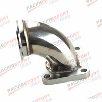 Stainless Steel 2.5 V Band T4 Turbo Exhaust 90 Degree Elbow Adapter Flange