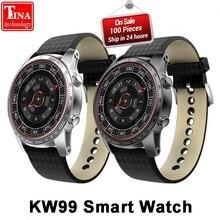 Ограниченное предложение Оригинальный Для мужчин мониторинга сердечного ритма Bluetooth KW99 Смарт часы-телефон MTK6580 3g WI-FI gps Часы Smartwatch телефона Android PK KW88