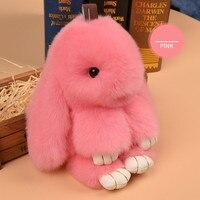 Lacoogh New 13cm Cute Fluffy Bunny Keychain Women Cute Rabbit Fur Ball Key Holder Pompon Toy