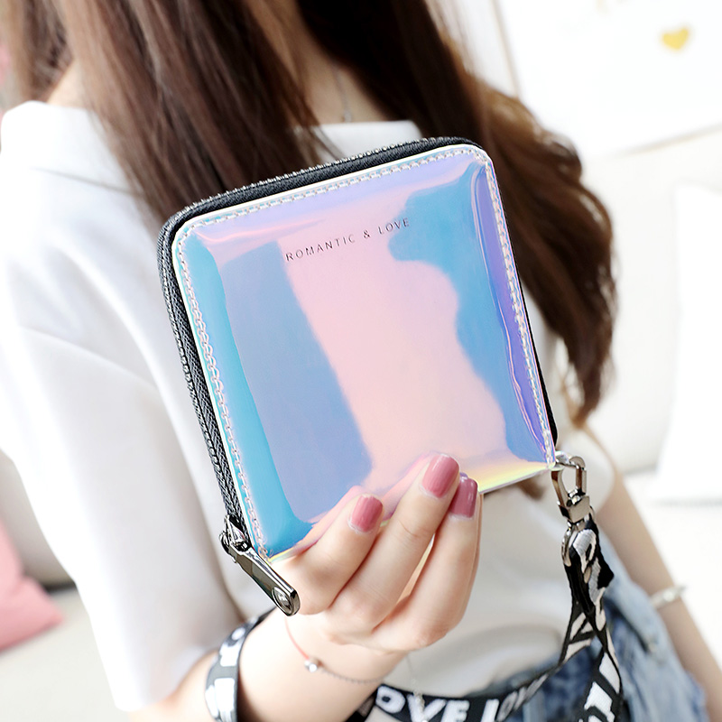 Bentoy Laser Women Leather Wallets Neck String Clutch Wallet Female Money Bag Hologram Female Purse Organizer Card Holder