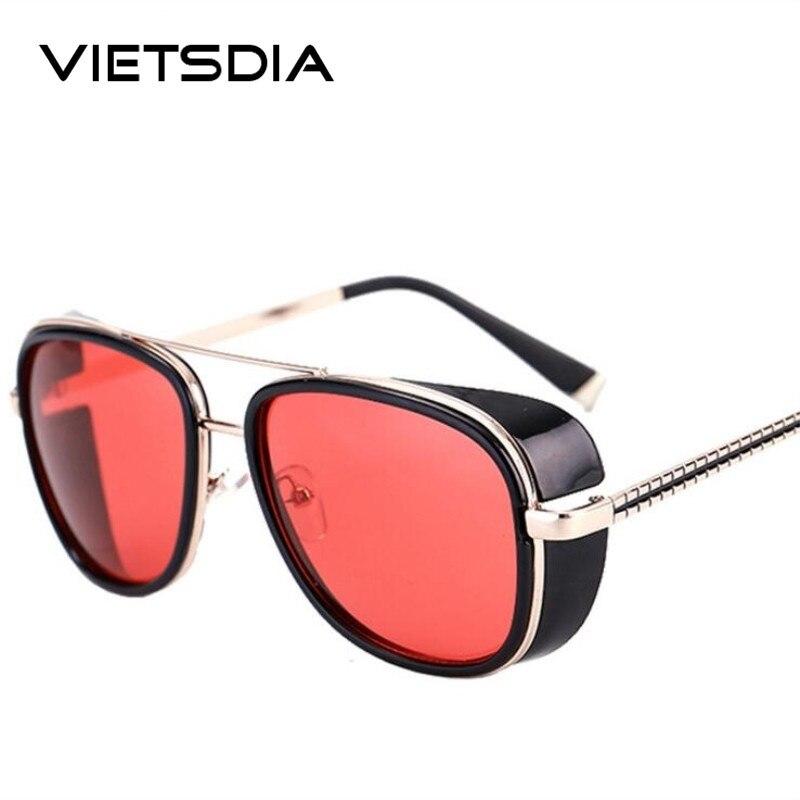2018 Steampunk Tony Stark Iron Man 3 Sonnenbrille Herren Mirrored Designer Marke Frauen Gläser Vintage Rote Linse Sonnenbrille Uv400 Bestellungen Sind Willkommen.