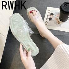 RWHK 2019 new summer rhinestones slippers women wear fashion wild transparent flat bottom mopping beach shoes silver B511 цена в Москве и Питере