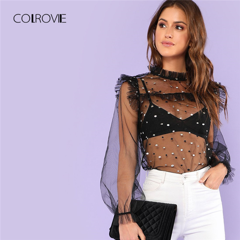 COLROVIE Pearl Embroidery Frilled Mesh Blouse Shirt 2018 New Summer Black Sheer Long Sleeve Women Blouse Polka Dot Sexy Top