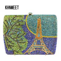 LaiSC Handcrafted Inlay Crystal Evening Bags Eiffel Tower Pattern Clutch Bags Luxury Diamond Evening Bags Chain