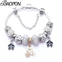 BAOPON High Quality Vintage Silver Plated Crystal Pandora Bracelet For wome Fit Snake Chain Charm Bracelet DIY Jewelry Gift(China)