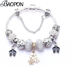 BAOPON Vintage Silver Plated Crystal Charm Bracelets For wome Fit Snake Chain Fine Bracelet DIY Jewelry Gift High Quality
