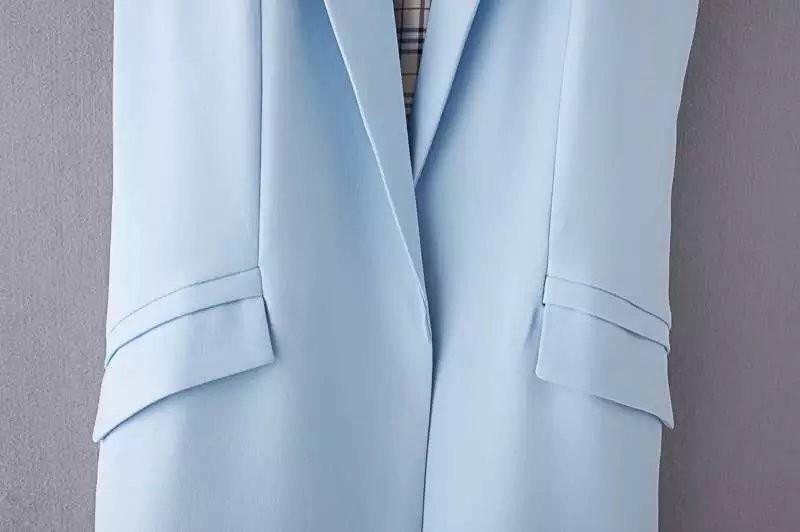 2017 wiosna nowy mody długie kieszenie turn-dół collar otwórz stitch pantone niebieski różowy beżowy czarny żakiet kamizelka bez rękawów kurtki 37