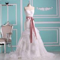 Long Formal Wedding Dresses A Line Sweetheart Ruffle Organza Elegant Vestidos De Noiva Wedding Gown 2018