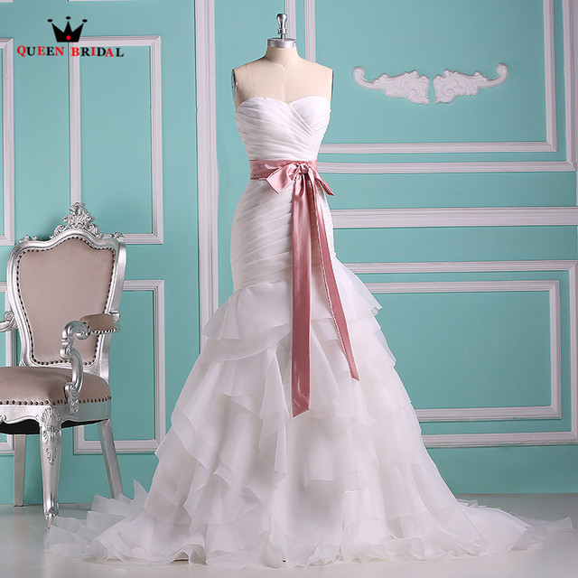 Long Formal Wedding Dresses A line Sweetheart Ruffle Organza Elegant ...