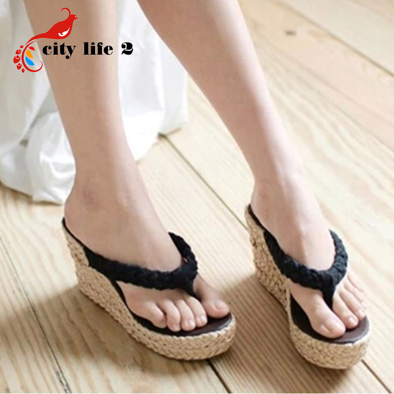 2015 New Wedges Sandals font b Woman b font Vintage Bohemia Flip Flops Straw Summer Shoes