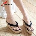 2017 Nuevas Cuñas Sandalias de Mujer de La Vendimia de Bohemia Paja Flip-Flops Zapatos de Verano Sandalias de la Plataforma Tamaño 35-39 Tenis