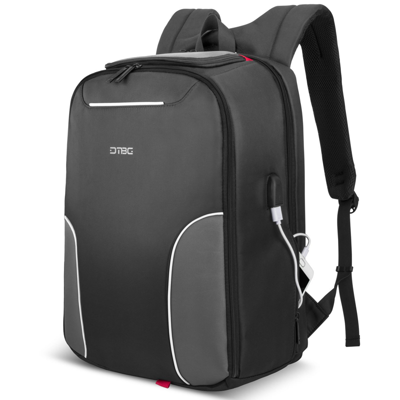 DTBG Backpack 17.3 Inch Black Nylon Waterproof Laptop Smart Backpack USB Charging Port Men Women Anti-theft School Travel Bag