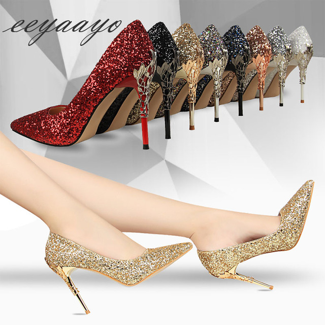 2019 New Spring Women Pumps High Thin Heels Pointed Toe Metal Decoration Sexy Bling Bridal Wedding Women Shoes Gold High Heels 4