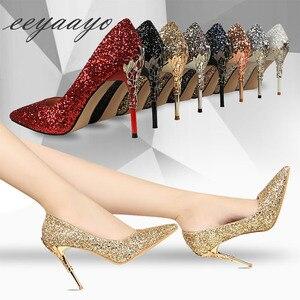 Image 5 - 2020 nuove donne primaverili pompe tacchi alti sottili punta a punta decorazione in metallo Sexy Bling scarpe da sposa da sposa tacchi alti dorati