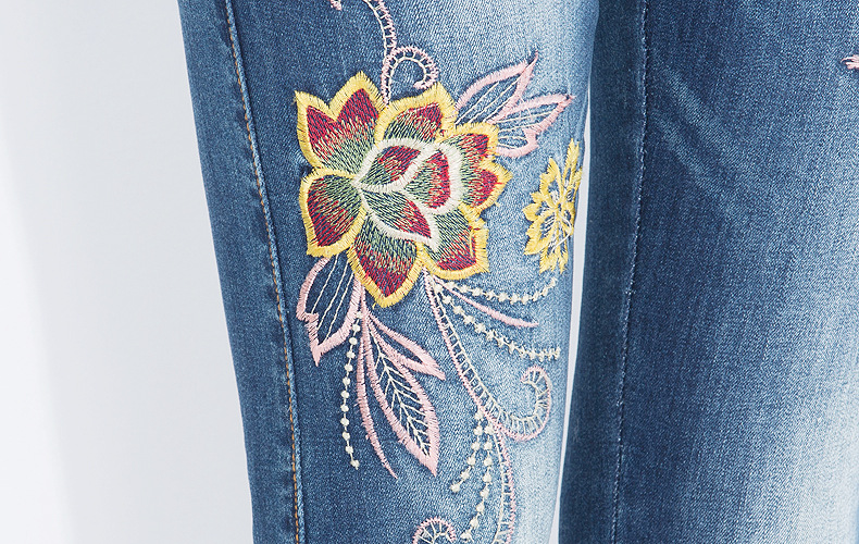 KSTUN FERZIGE Jeans Women High Waisted Pencils Pants Skinny Slim Fit Stretch Light Blue Embroidery Flowers Washed Femme Large Size 36 22