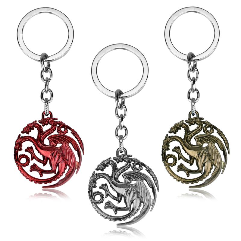 Movie Seriers Game of Throne House Stark keychain 3 Colors Alloy The Song Of Ice and Fire Targaryen Dragon Badges Keyring Gift 17cm game of thrones action figure toys sword chair model toy song of ice and fire the iron throne desk christmas gift